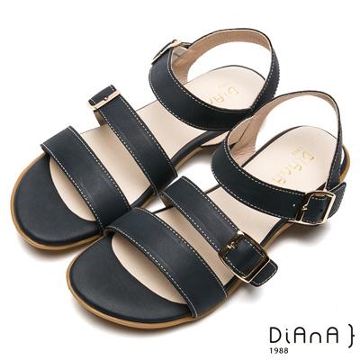 DIANA–三寬版繞帶方金屬釦牛皮涼鞋-樂活悠閒-深藍