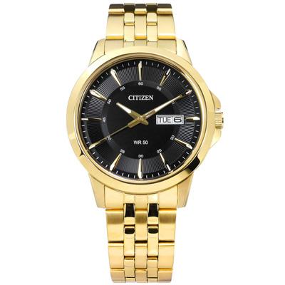CITIZEN 時尚復古日期星期不鏽鋼手錶-黑x鍍金/41mm