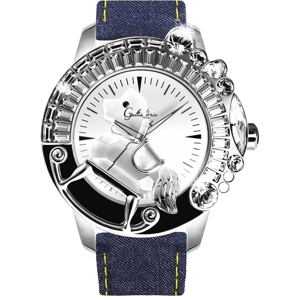Galtiscopio迦堤 童真木馬系列 創作夢幻手錶-白x丹寧/50mm