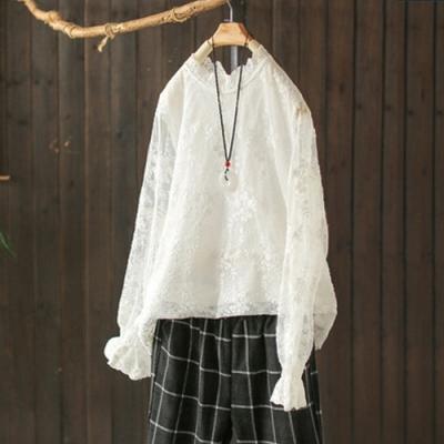 蕾絲刺繡棉質內搭衫長袖T恤洋氣立領上衣-設計所在