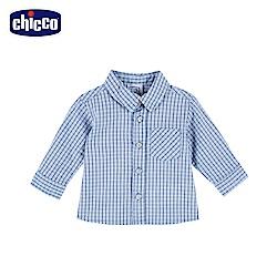 chicco-To Be Baby-藍白格紋長袖襯衫