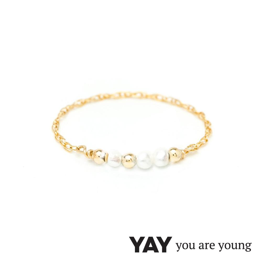YAY You Are Young 法國品牌 Riviera 白珍珠鍊戒 金色迷你款