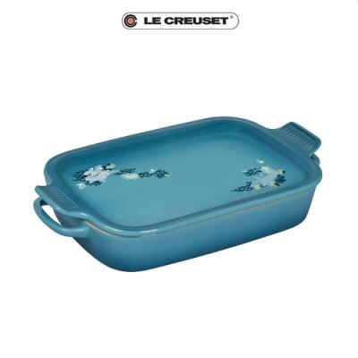 LE CREUSET  雙魚戲荷瓷器長形烤盤附托盤組31cm(加勒比海藍)