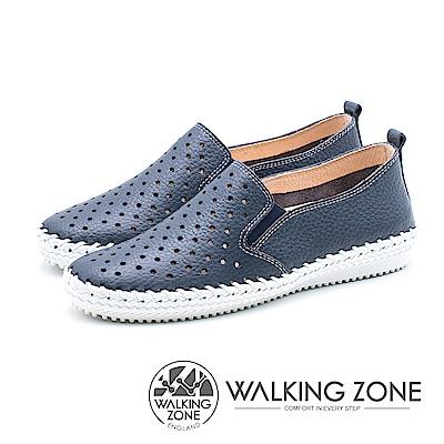 WALKING ZONE 透氣洞洞 樂福懶人便鞋 女鞋-藍莓藍(另有檸檬黃)