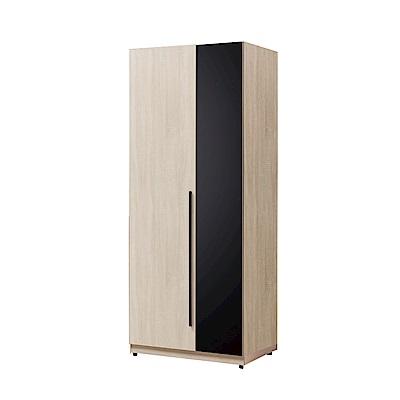 文創集 阿爾比2.5尺衣櫃(吊衣桿+抽屜+玻璃鏡面飾板)-75.5x58x197cm免組