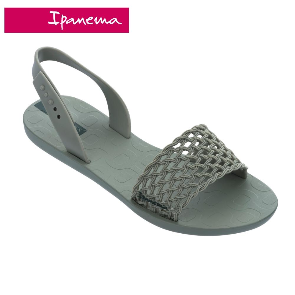 Ipanema BREEZY 波西米亞風 編織網設計一字涼鞋-墨綠