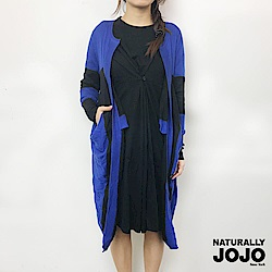 【NATURALLY JOJO】長版寬條外罩(藍x黑)