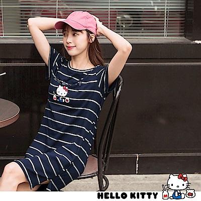 復古Kitty印圖高含棉橫條紋長版上衣-OB嚴選