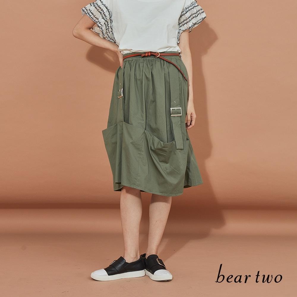 beartwo-簡約雙扣環休閒裙-墨綠