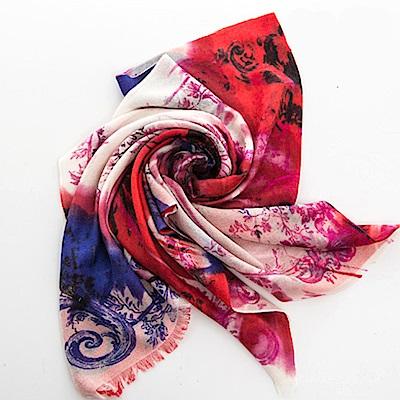 ELLE魅力款-法式浪漫優雅圖案羊絨披肩