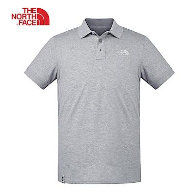 The North Face北面男款灰色透氣休閒短袖POLO衫|3VRAX8A