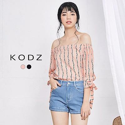 東京著衣-KODZ 法式袖口綁帶波浪造型上衣-S.M(共二色)