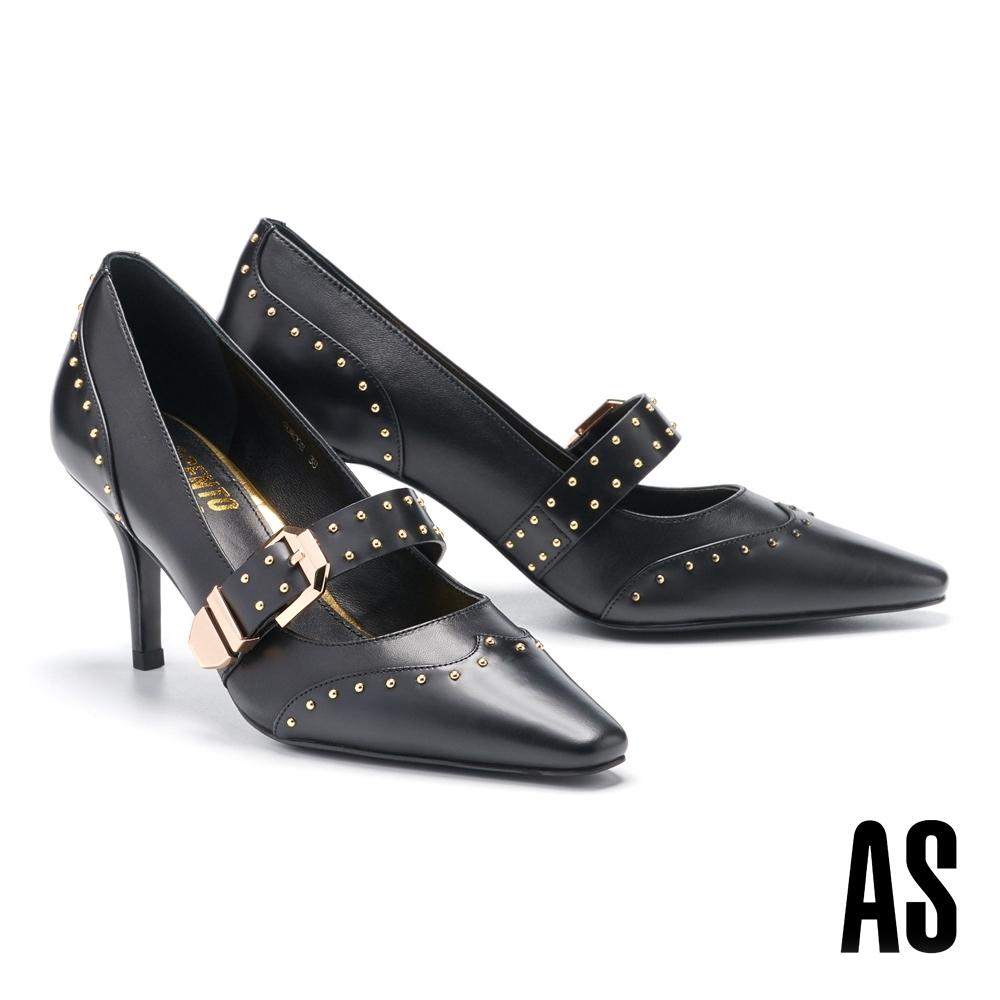 高跟鞋 AS 異材質拼接金屬鉚釘帶釦牛皮小方頭高跟鞋-黑