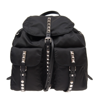 PRADA 新款 經典尼龍鉚釘鑲嵌 磁釦雙口袋後背包 (大款/黑色皮帶)