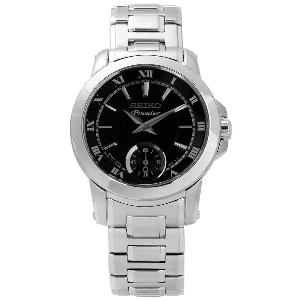 SEIKO Premier 典藏品味日本製造防水100米不鏽鋼手錶-黑色/31mm