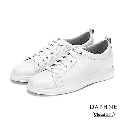 達芙妮DAPHNE 休閒鞋-金屬環釦真皮綁帶休閒鞋-白