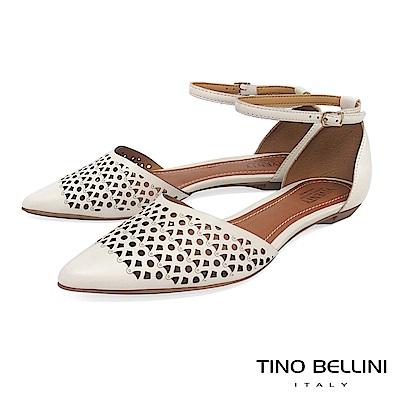 Tino Bellini 巴西進口雷射幾何藝術繫踝平底鞋 _白