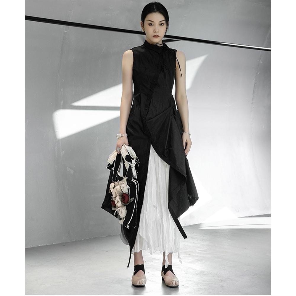 設計所在Style-暗黑風修身顯瘦氣質無袖網紗褶皺洋裝白色裙另售
