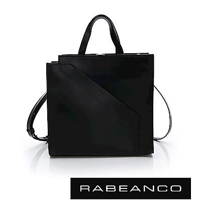 RABEANCO CHEI系列牛皮時尚剪裁手提/斜背方包 鋼琴黑