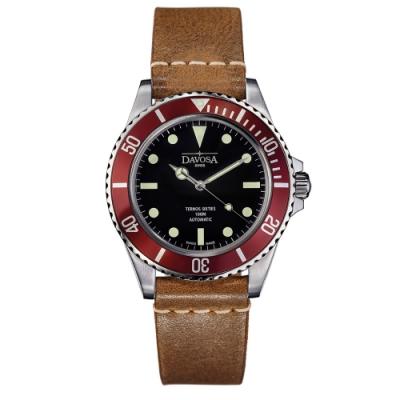 DAVOSA 161.525.655 TERNOS SIXTIES 60 年代復刻專業潛水自動錶/勃根地酒/皮帶/40mm