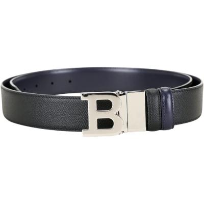 BALLY B BUCKLE 可翻轉字母金屬釦雙面用皮帶(黑x深藍)