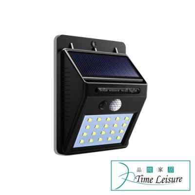 Time Leisure 太陽能充電戶外牆壁廣角人體感應燈 LED20顆/2入