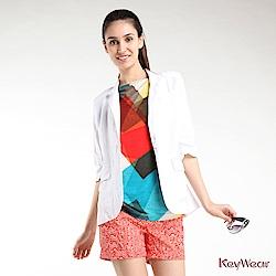 KeyWear奇威名品     簡約修身七分袖外套-白色