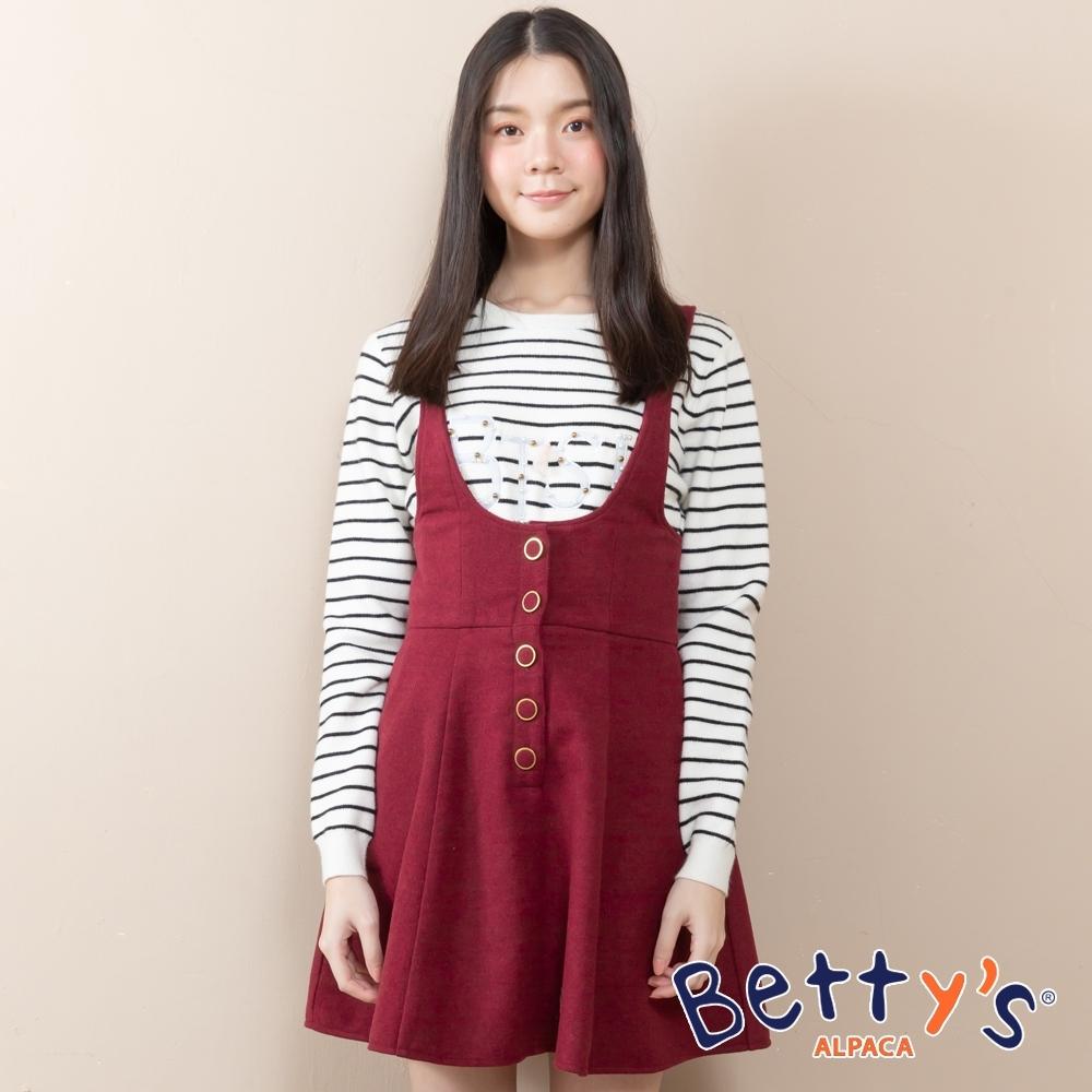 betty's貝蒂思 半開襟磨毛吊帶洋裝(紅色)