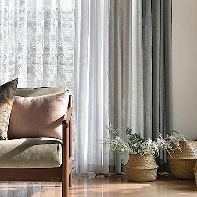 完美主義 純白類亞麻落地窗簾/長窗簾/簾子/韓國製-130x230cm