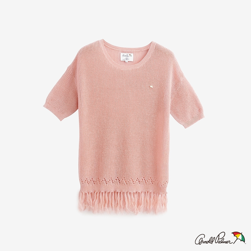 Arnold Palmer-女裝-下擺流蘇簍空細節線衫 -粉