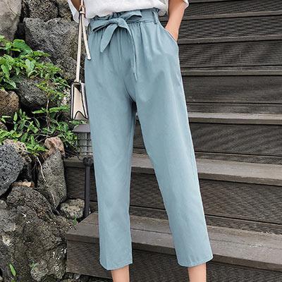 簡約純色高腰七分哈綸褲 (共三色)-Kugi Girl