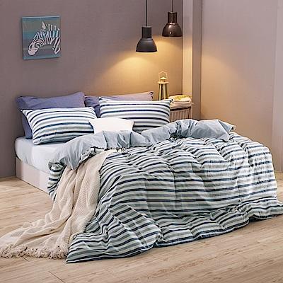 鴻宇 雙人床包兩用被套組 色織水洗棉 希爾達 台灣製