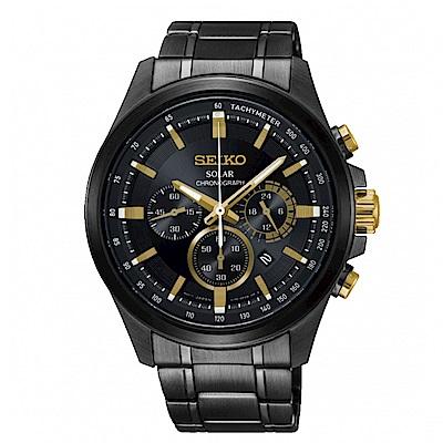 SEIKO Criteria三眼時刻太陽能腕錶/V175-0ER0G/SSC687P1