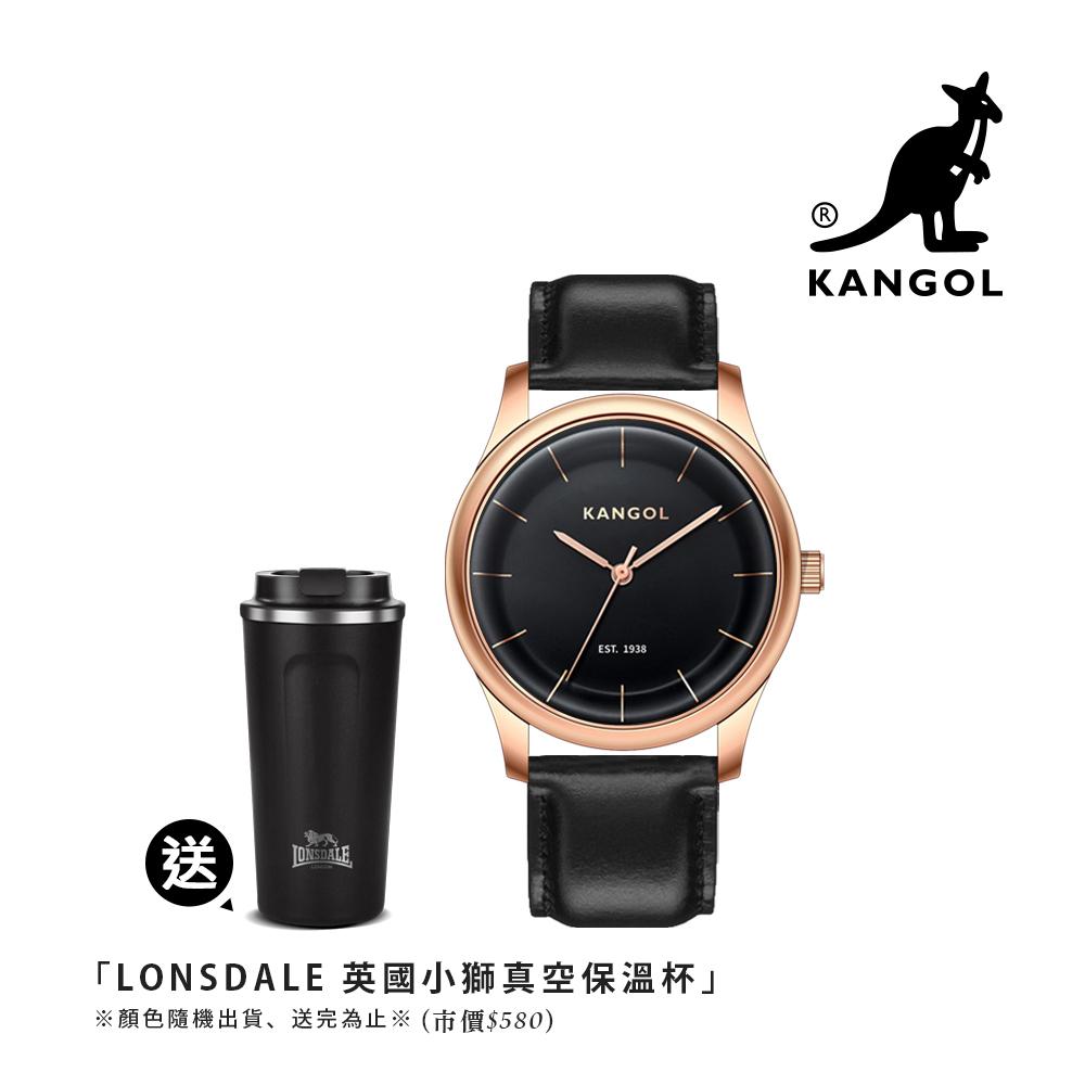 KANGOL 弧形流線時尚腕錶38mm真皮錶帶(黑)-玫瑰金框 KG71238