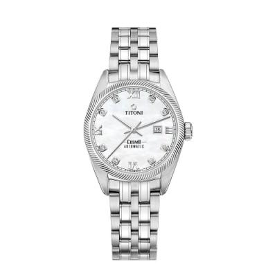 TITONI瑞士梅花錶 宇宙系列女錶(818 S-652)-8顆鋯+/羅馬字時標/珍珠母貝錶盤珍珠母貝/不鏽鋼鍊帶/30mm