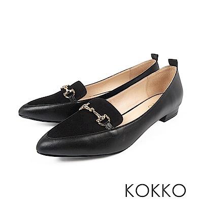 KOKKO -漫遊劍橋金屬扣尖頭平底鞋-迷人黑