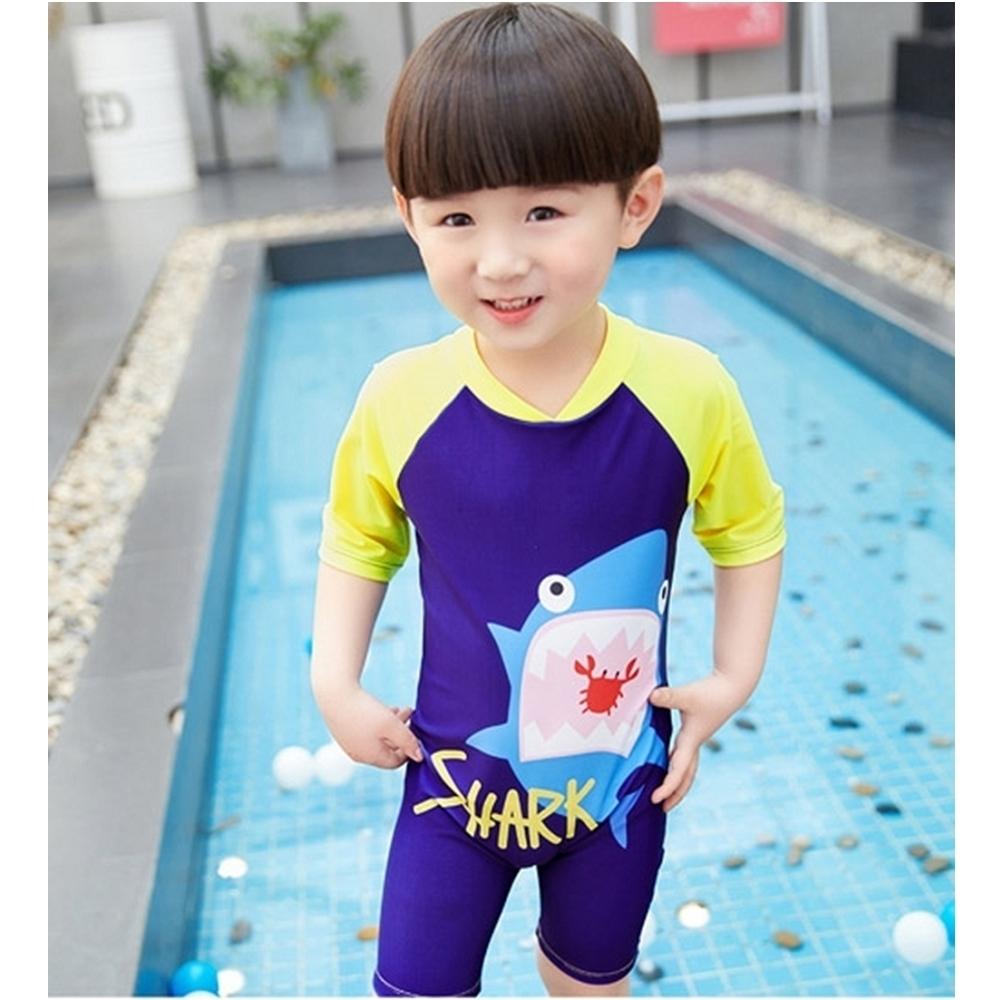 Baby童衣 男童拼色鯊魚拉鍊連身泳裝 88316