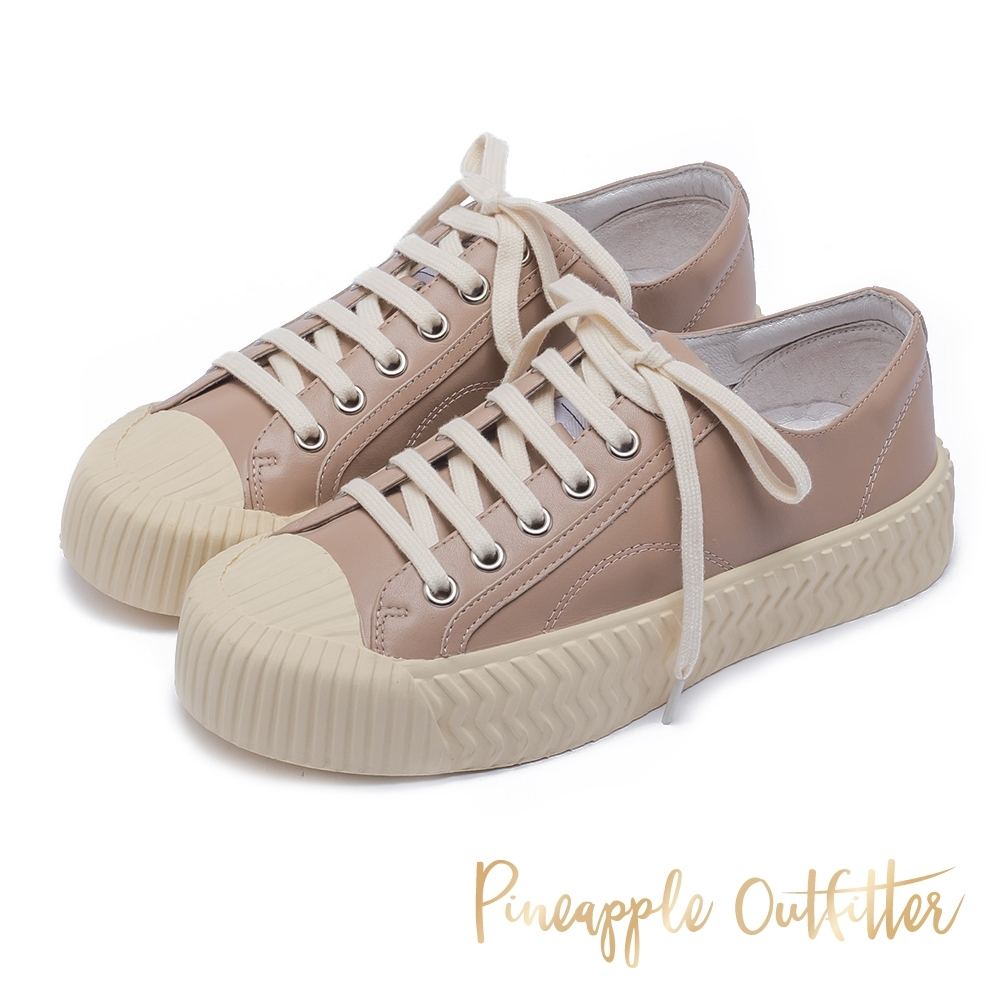 Pineapple Outfitter 韓系流行餅乾鞋 厚底休閒平底鞋-卡其粉