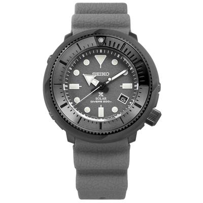 SEIKO PROSPEX 太陽能潛水錶日期防水200米矽膠手錶-灰色/45mm