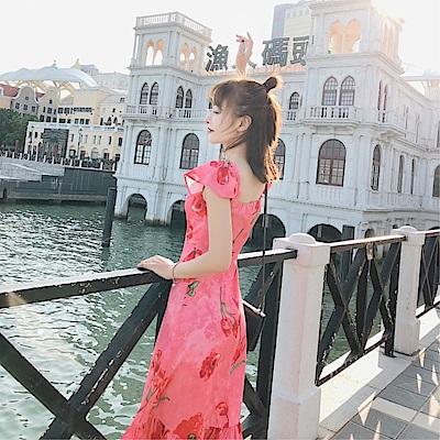 DABI 韓國名媛風波西米亞度假沙灘復古印花魚尾裙短袖洋裝