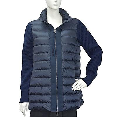 MONCLER 經典品牌LOGO立領拼接針織手袖長版羽絨夾克(海軍藍)