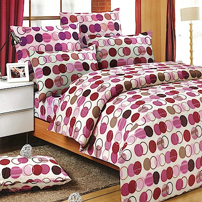 Carolan-圓點 精梳混紡棉加大床包被套四件組(6x6.2尺)