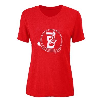 法國【EiDER】女排汗透氣短袖微V領衫/EIT2551紅