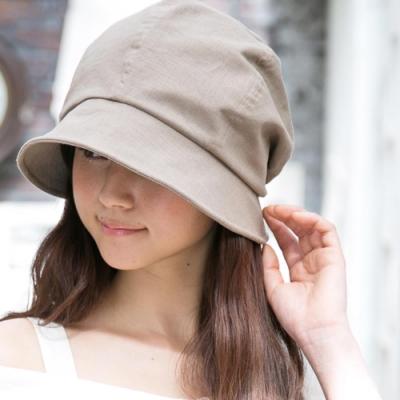QUEENHEAD日系抗UV抗風棉麻材質可折疊防曬帽(米色)