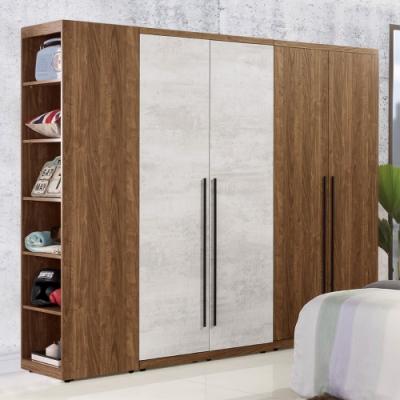 D&T 德泰傢俱 DINO清水模風格6.3尺單吊+雙吊+開放衣櫃-190x57x202cm
