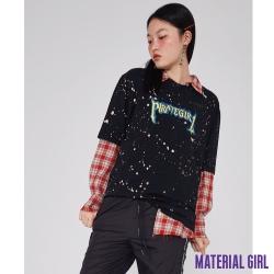 MATERIAL GIRL 紅格子寬鬆長袖襯衫 【91207】