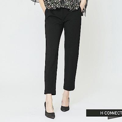 H:CONNECT 韓國品牌 女裝-後鬆緊修身九分褲-黑