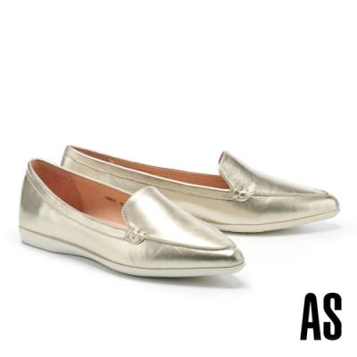 低跟鞋 AS 簡約時尚純色牛皮尖頭低跟鞋-金