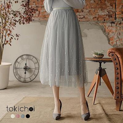 東京著衣 多色氣質浪漫珠珠點綴鬆緊腰圍紗裙(共四色)