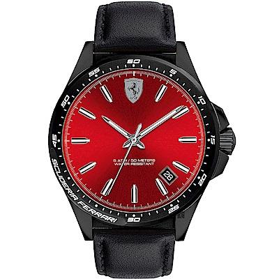Scuderia Ferrari 法拉利 Pilota 飆風再起時尚手錶-紅x黑/42mm